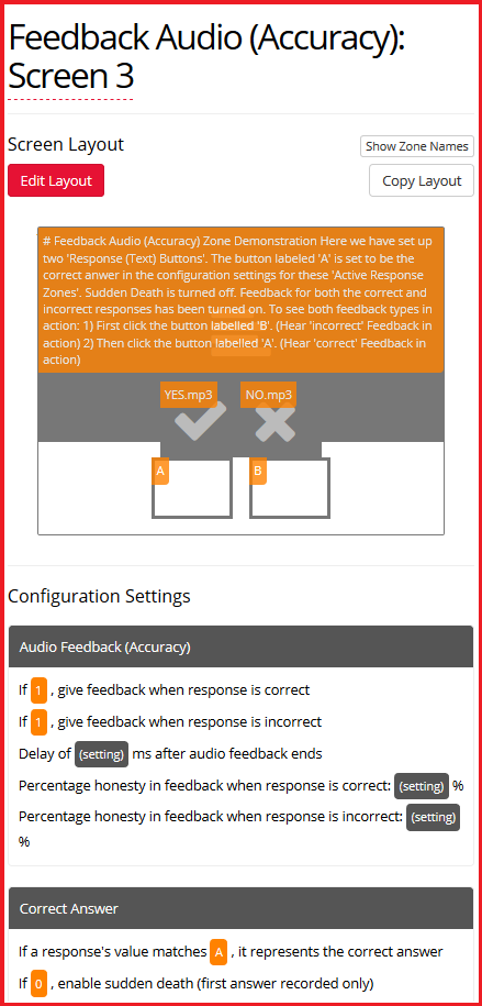 Feedback Audio (Accuracy) Zone and configuration settings Image
