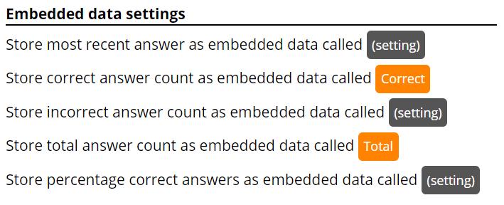 Image of Static Embedded Data settings